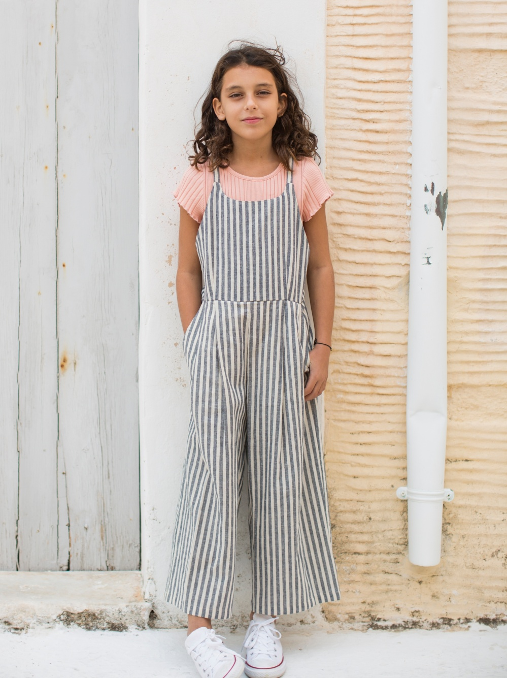 Striped Culotte Romper
