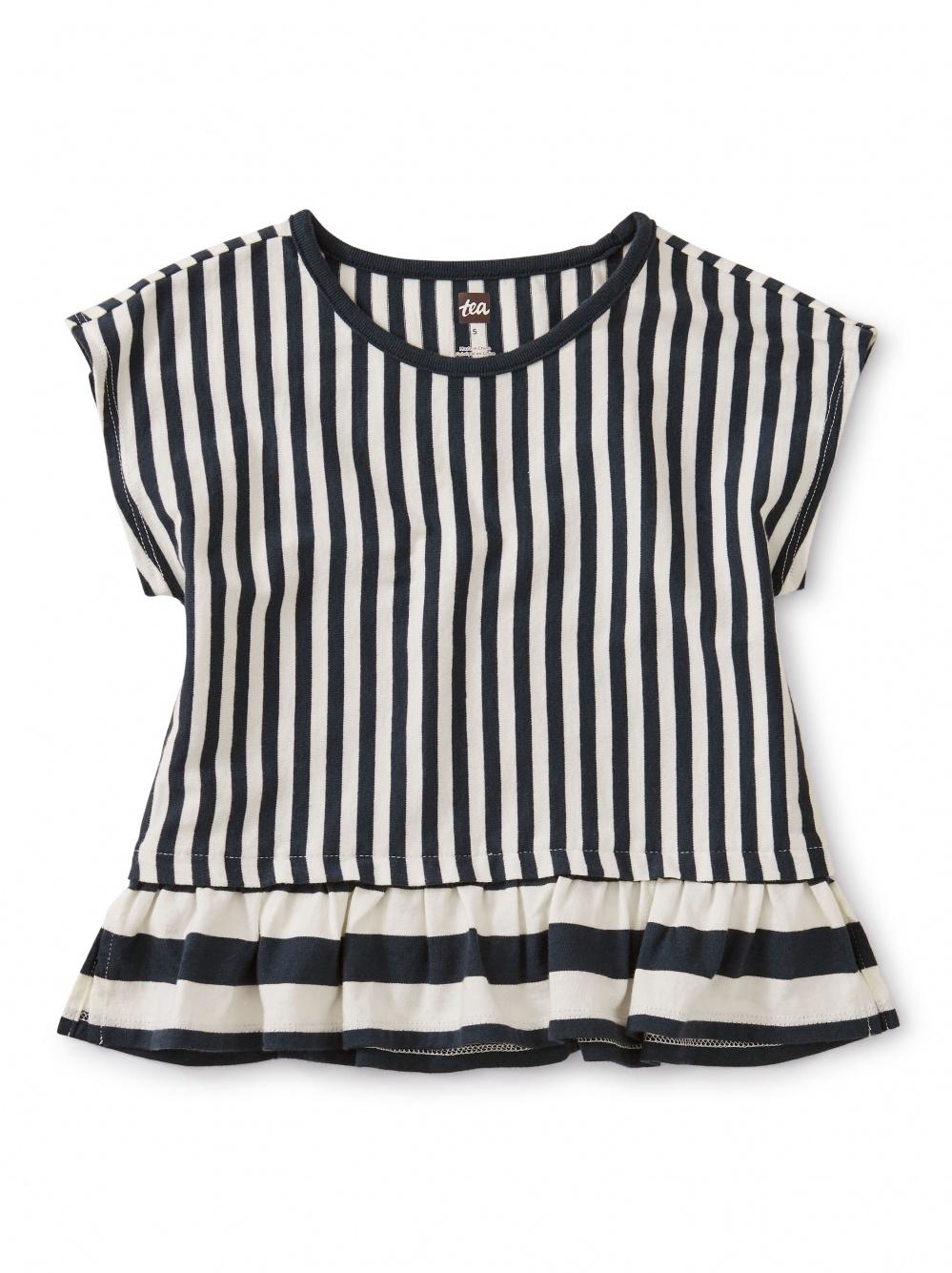 Striped Ruffle Hem Top