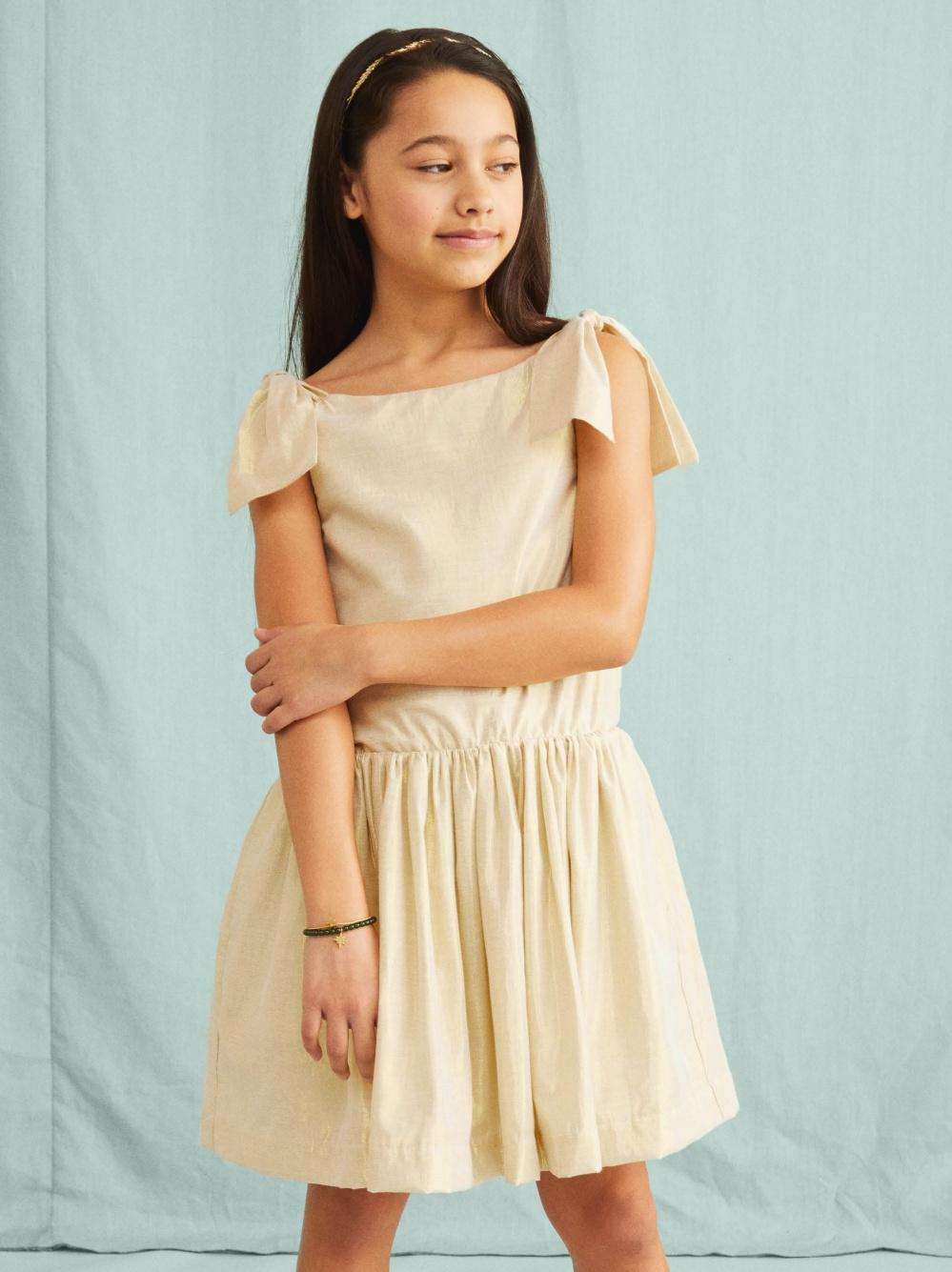 Metallic Shoulder Tie Dress