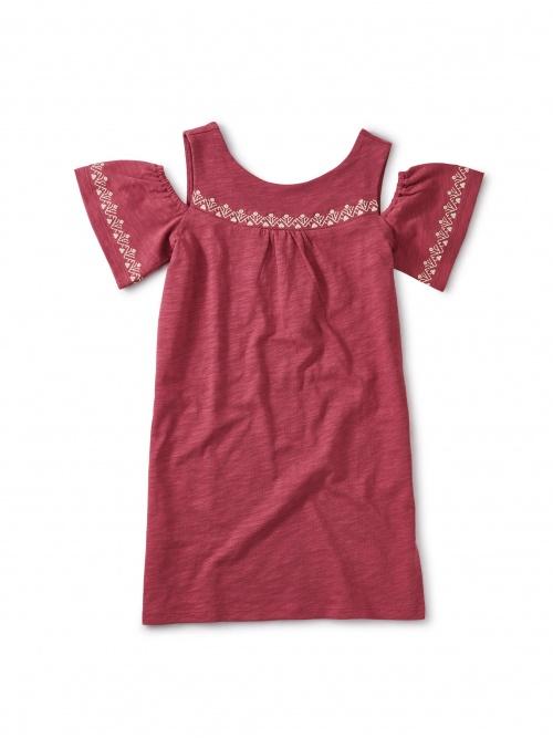 Embroidered Bold Shoulder Dres