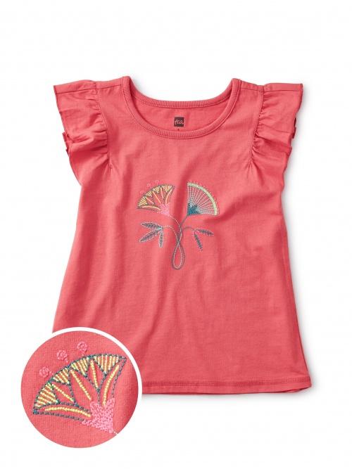 Embroidered Flower Flutter Tee