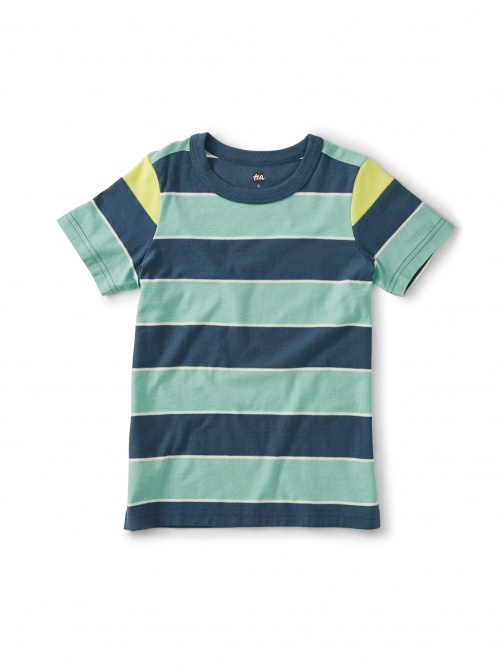 Striped Shoulder Inset Tee