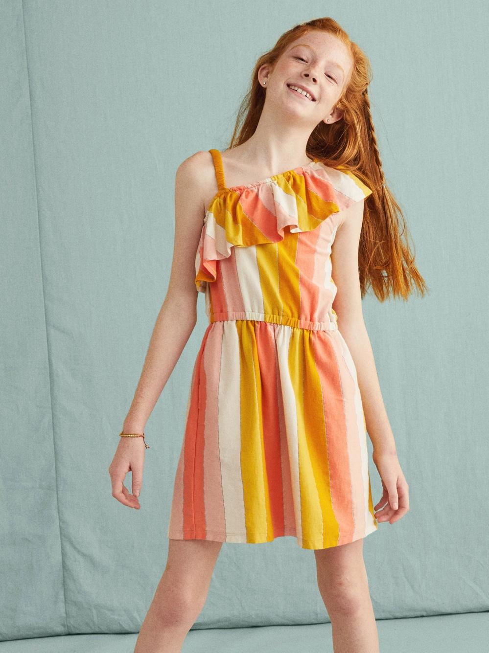 Metallic Ruffle Shoulder Dress