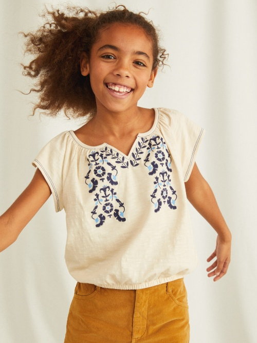 Embroidered Flutter Top