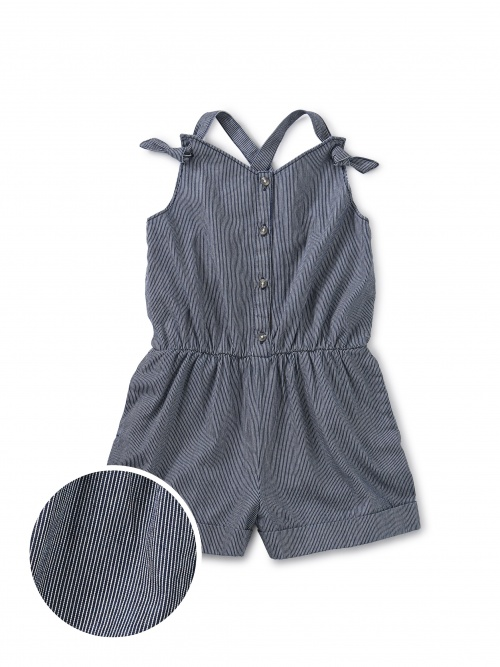 Pull-On Button Front Romper