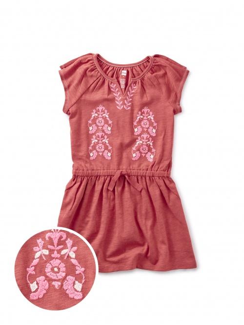 Embroidered Flutter Sleeve Dress