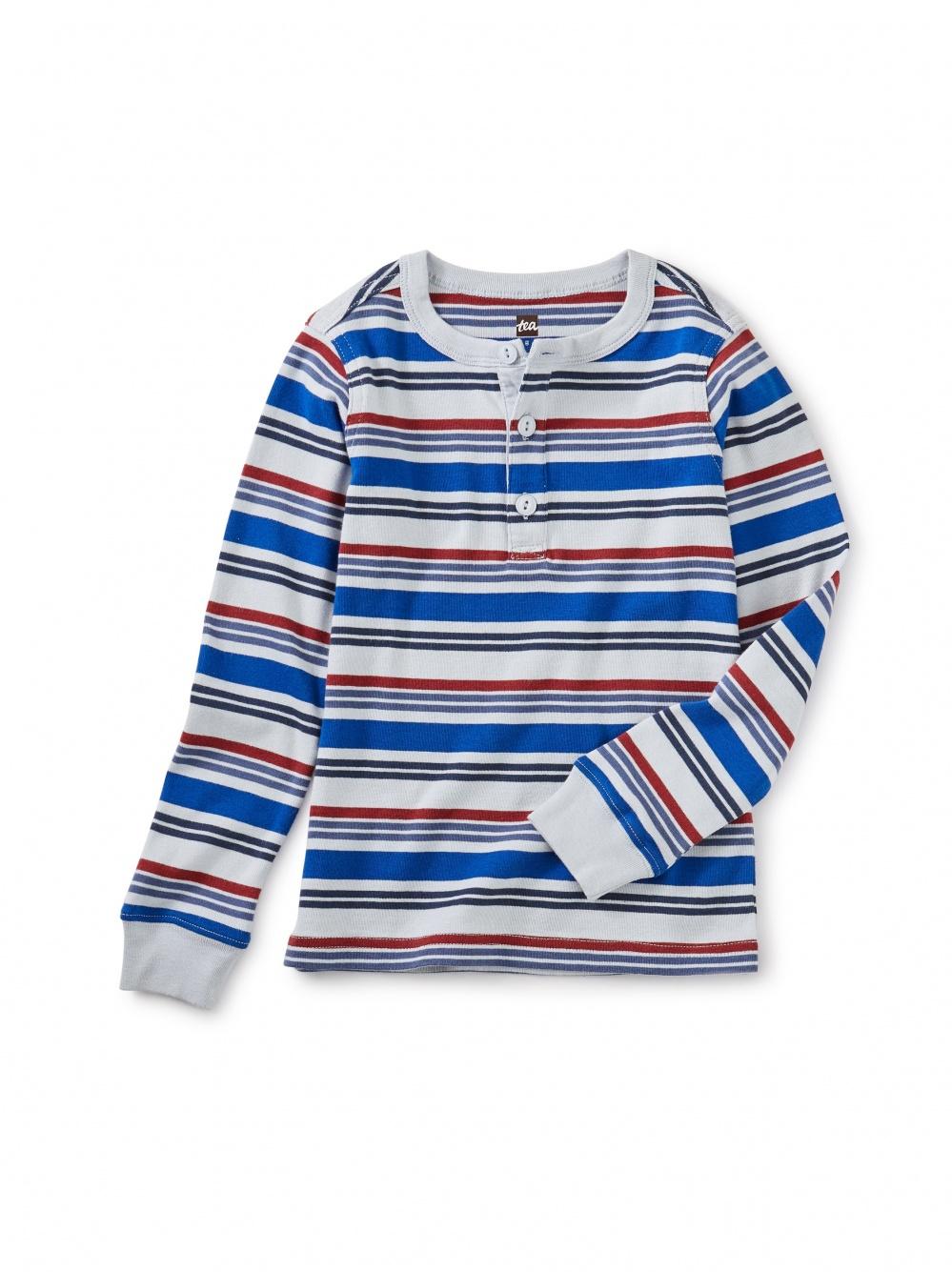 Long Sleeve Striped Henley Top