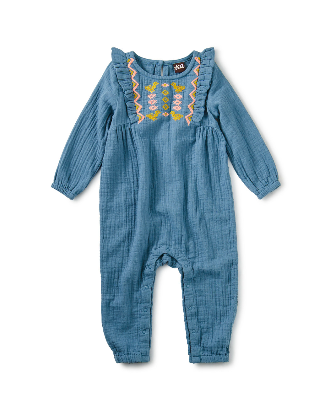 Embroidered Ruffle Baby Romper