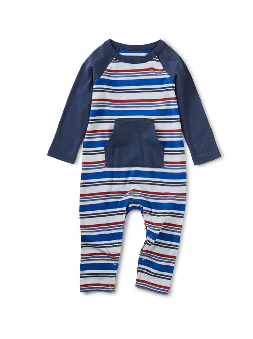 Striped Kanga Pocket Raglan Romper