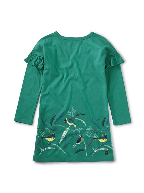 Bird Border Ruffle Dress
