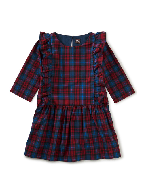 Family Plaid Ruffle Hem Dress