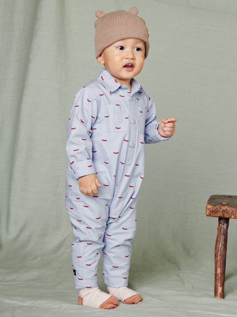 Patterned Buttoned Baby Romper
