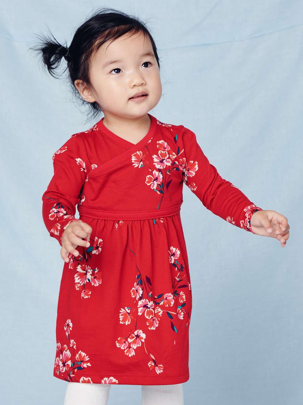 Floral Wrap Neck Baby Dress