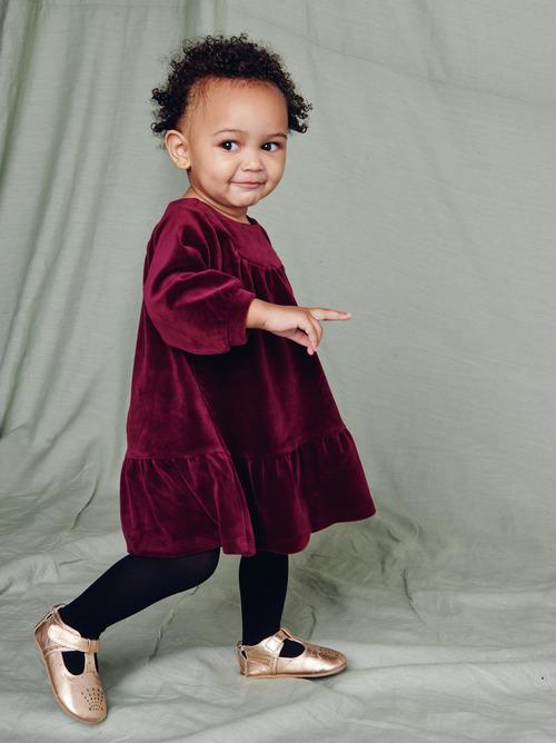 Velour Ruffle Baby Dress