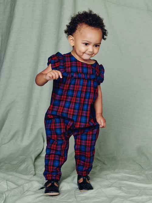 Family Plaid Ruffle Romper