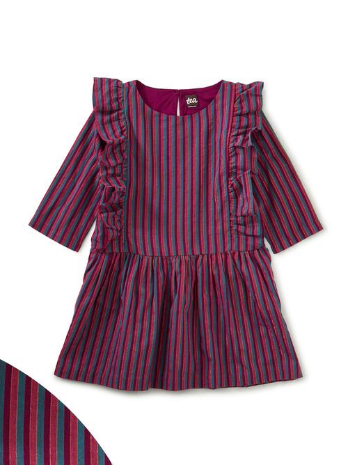 Metallic Stripe Ruffle Dress