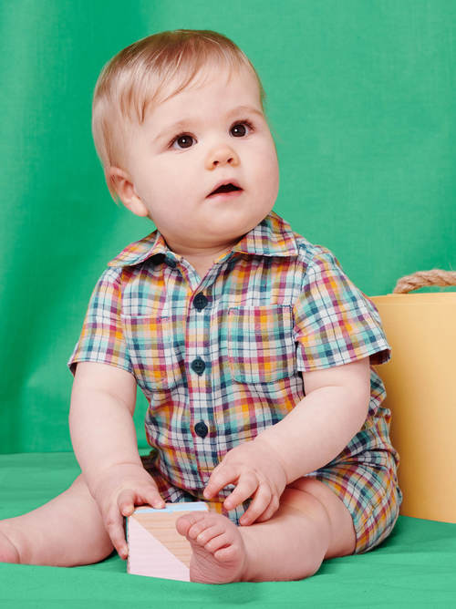 Buttoned Baby Romper