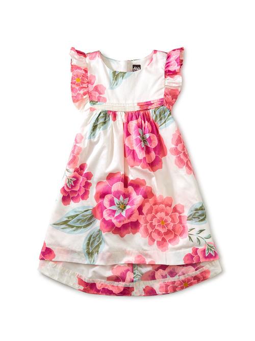 Hi-Lo Ruffle Sleeve Dress