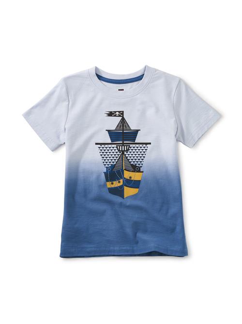 Dip Dye Ship Shape Graphic Tee