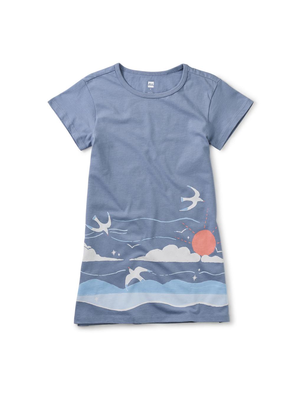 New Waves Border T-Shirt Dress