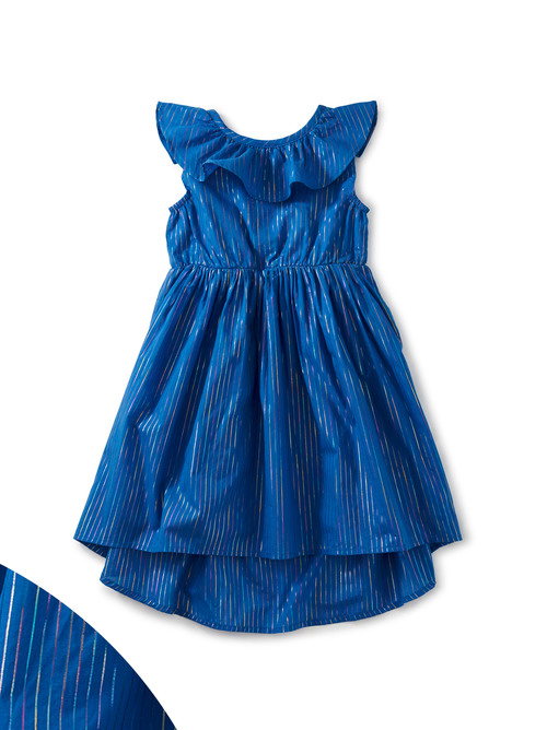 Hi-Lo Ruffle Neck Dress