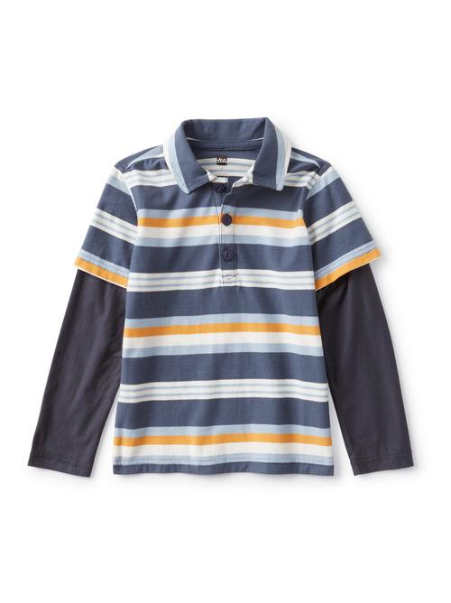 Layered Sleeve Striped Polo