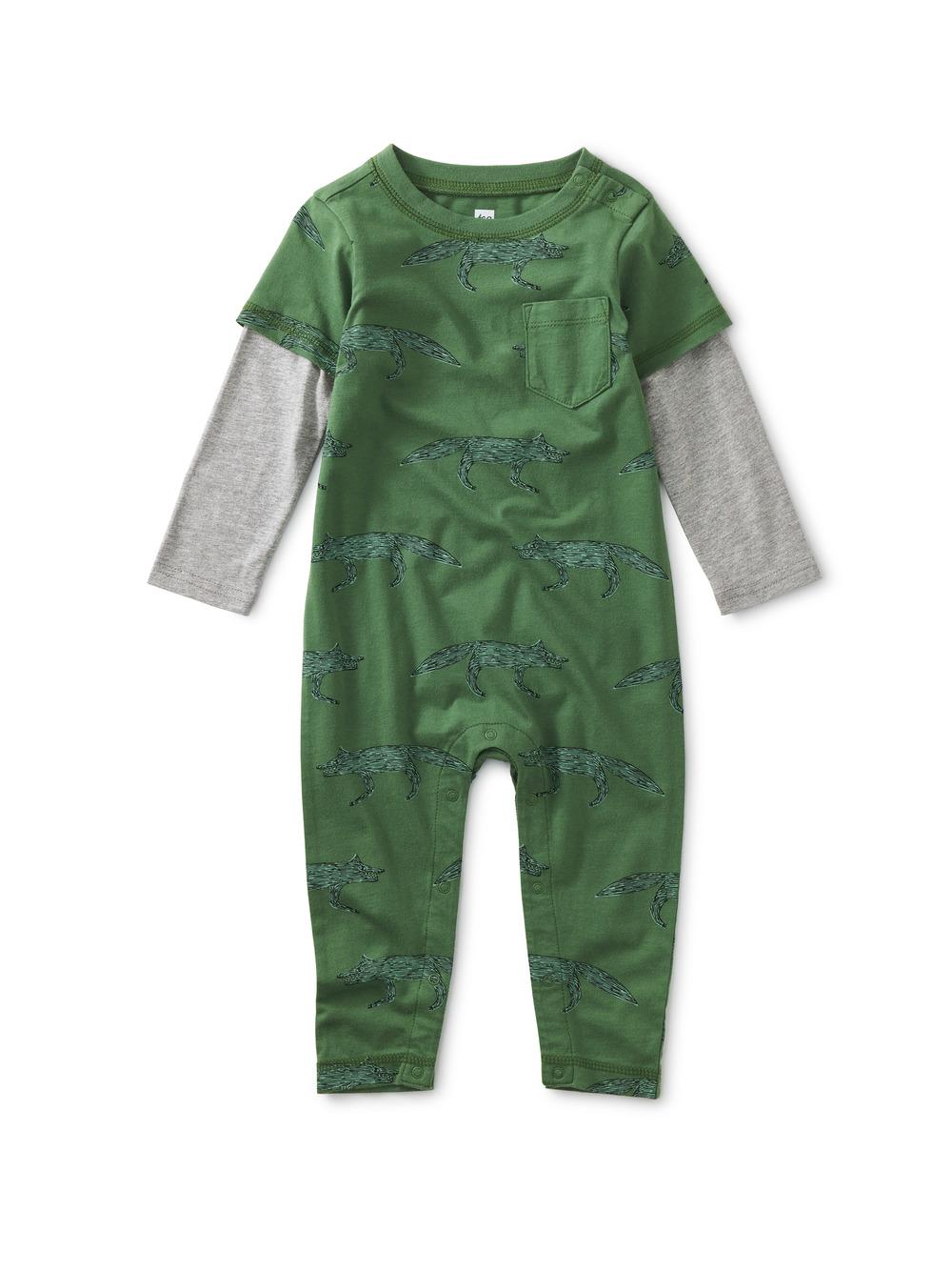 Layered Sleeve Baby Romper