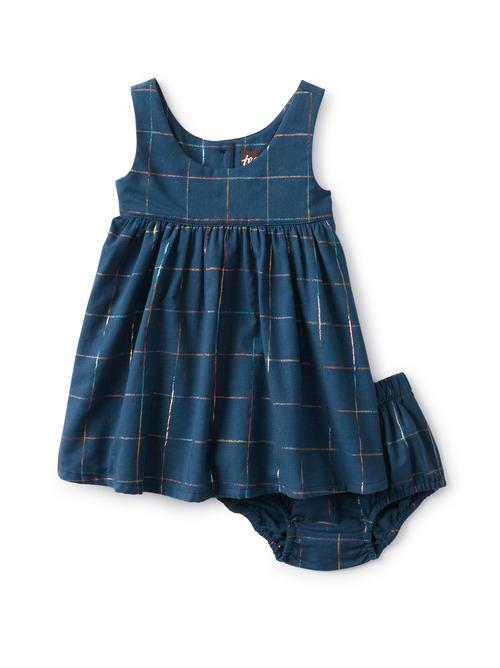 Metallic Grid Baby Dress