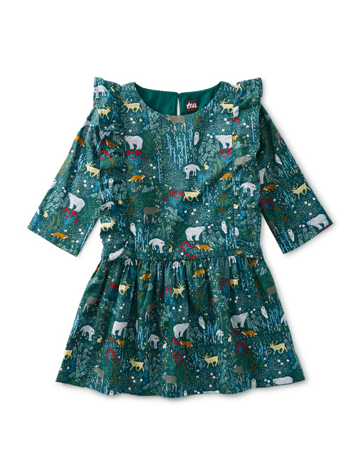 Ruffle Shoulder Woven Dress