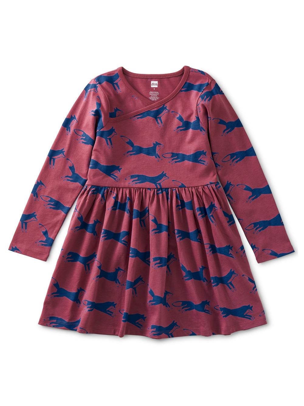 Long Sleeve Wrap Neck Dress