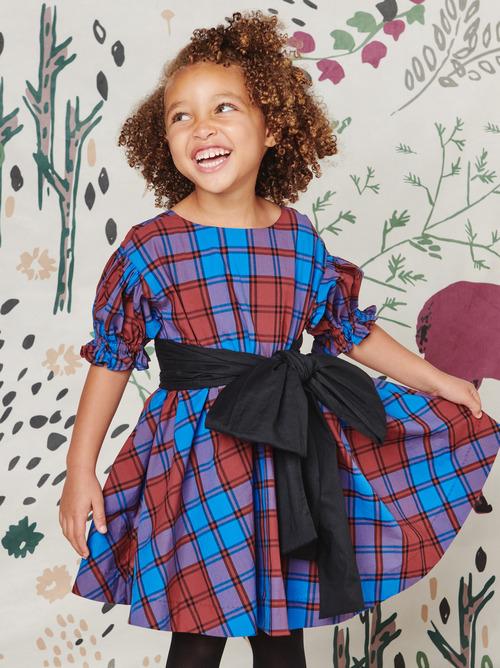 Family Plaid Sash Dress