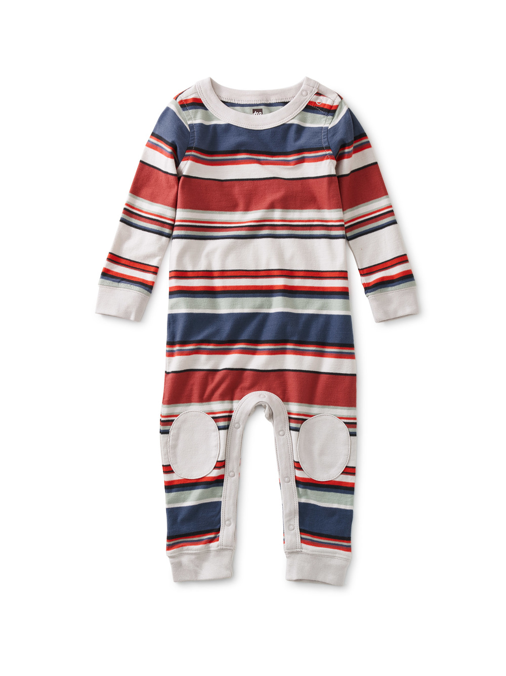 Stripe Knee Patch Baby Romper