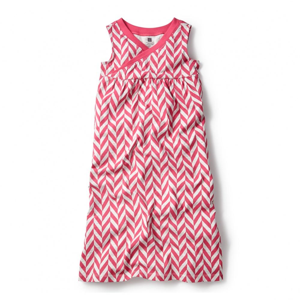 Coastal Chevron Wrap Neck Maxi Dress