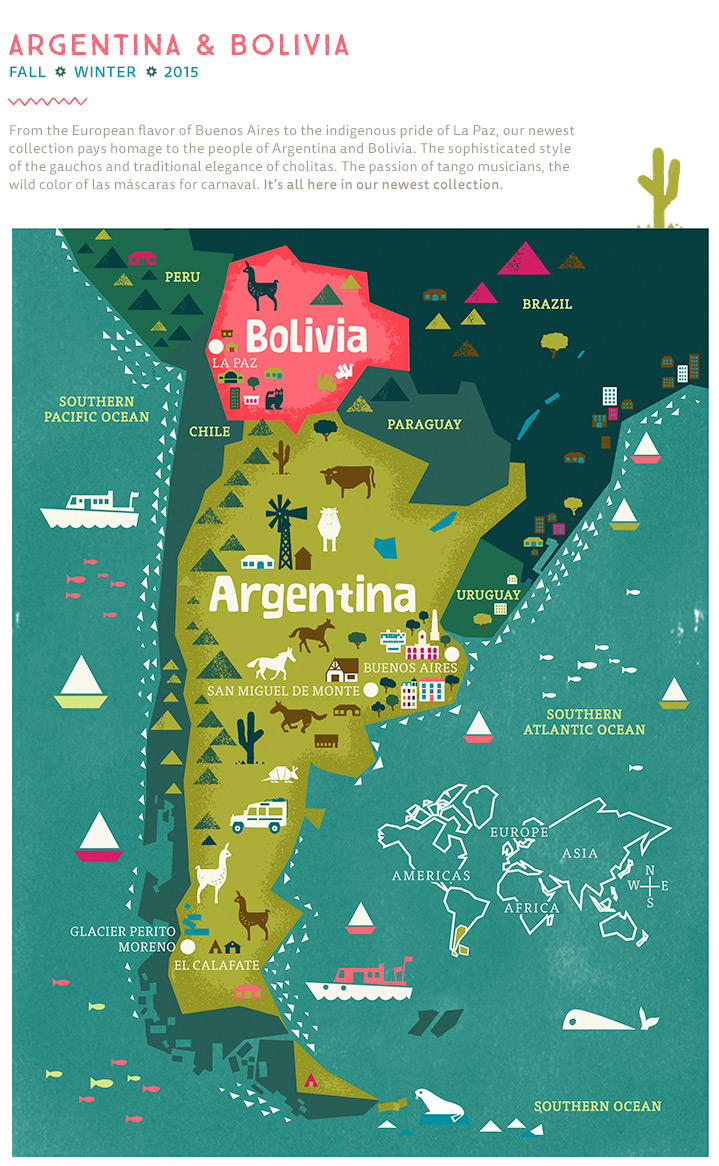 Argentina Bolivia Fall Winter Tea Collection - Argentina map for sale