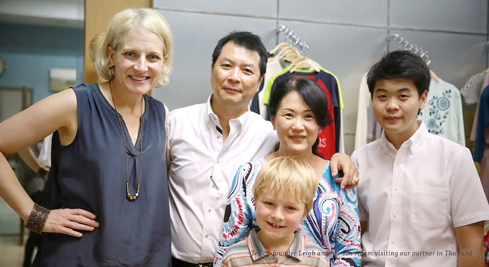 Tea co-founder Leigh and her son Adam visiting our partner in Thailand