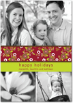 flat christmas photo cards floral patterns