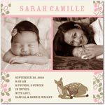 girl photo birth annoucement forest fawn