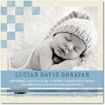boy photo birth annoucement faded checkers